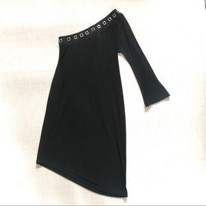 Joseph Ribkoff Black Asymmetrical Shoulder Dress